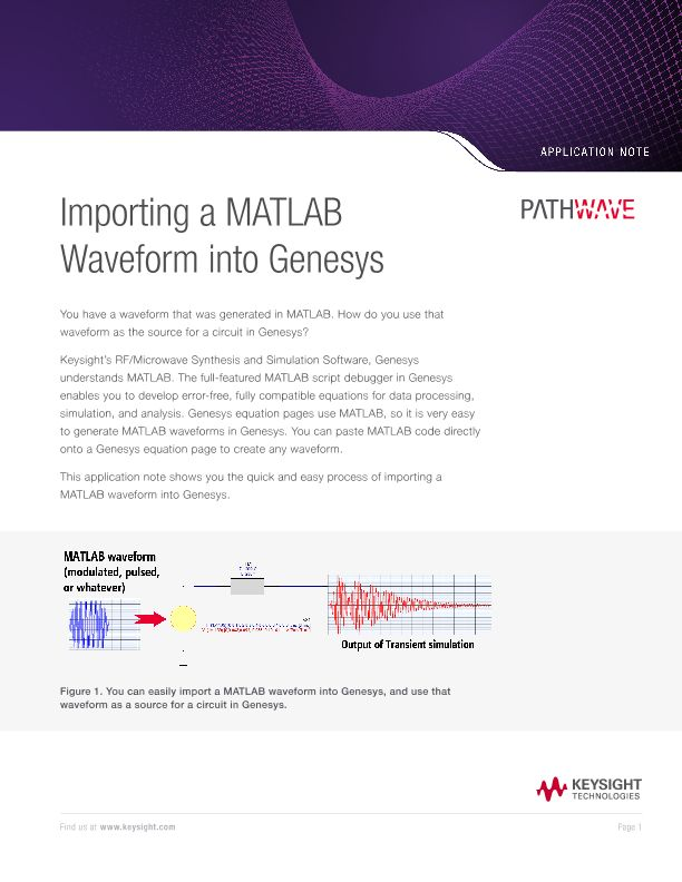 Importing a MATLAB Waveform into Genesys