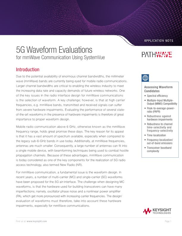 5G Waveform Evaluations – mmWave Communication with SystemVue