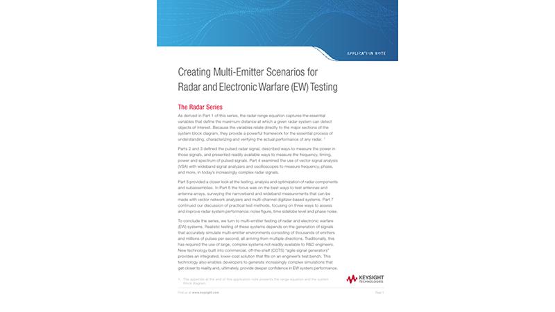 Creating Multi-Emitter Scenarios for Radar and Electronic Warfare (EW) Testing