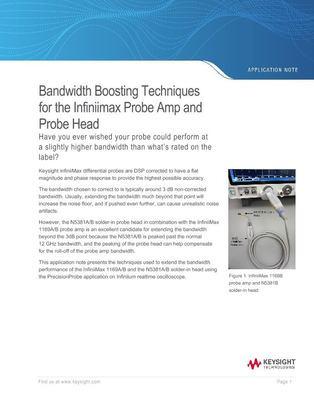 Bandwidth Boosting Techniques for the Infiniimax Probe Amp and Probe Head