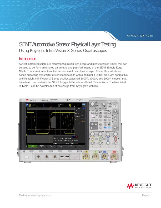 SENT Automotive Sensor Physical Layer Testing Using Keysight InfiniiVision X-Series Oscilloscopes
