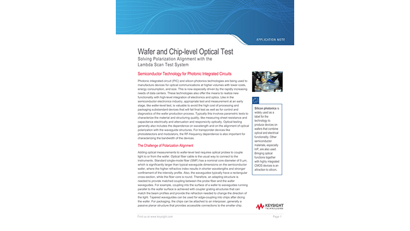 Wafer and Chip-Level Optical Test