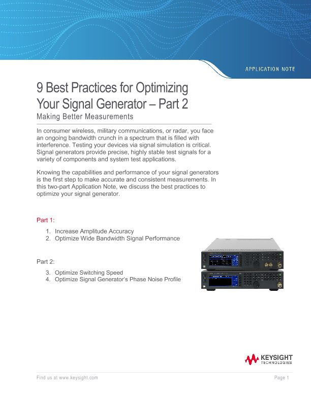 9 Best Practices for Optimizing Your Signal Generator – Part 2