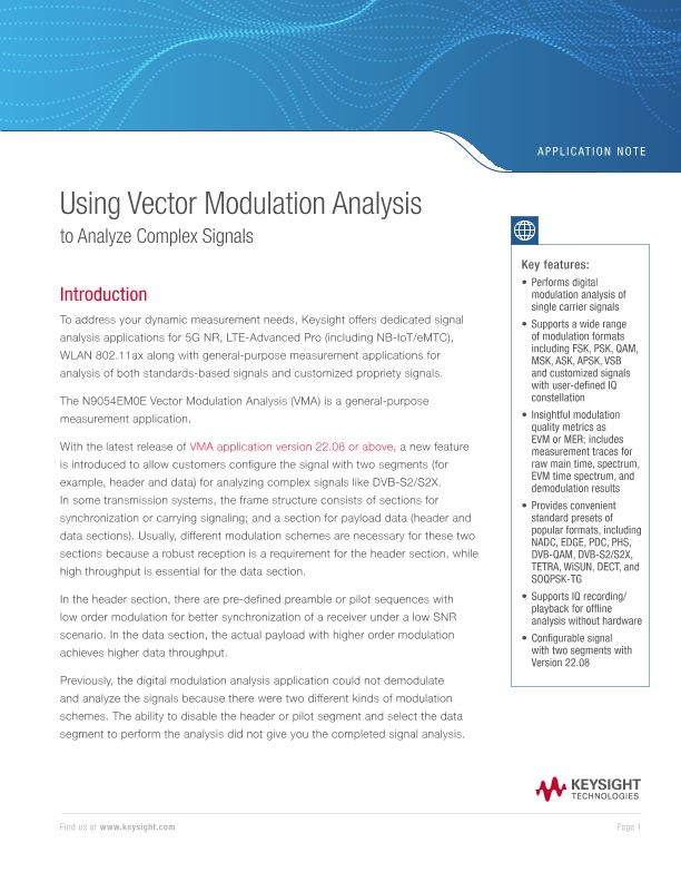 Using the Keysight Vector Modulation Analysis Measurement Application to Analyze Complex Signals