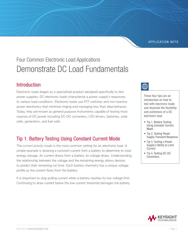 Demonstrate DC Electronic Load Fundamentals