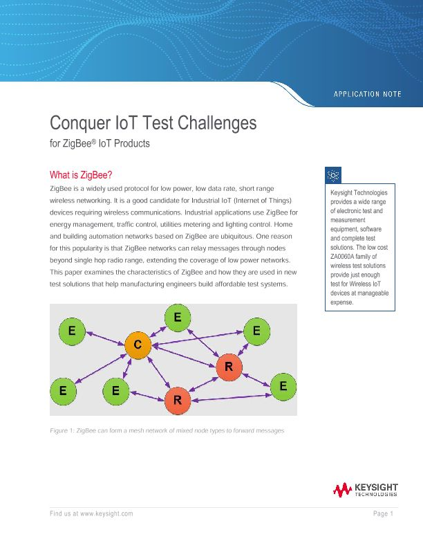 Conquer IoT Test Challenges for ZigBee IoT Products