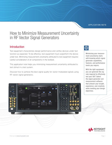 How to Minimize Measurement Uncertainty Using RF Signal Generators