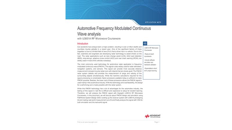 Automotive FMCW Radar Analysis with U3851A RFMW Courseware