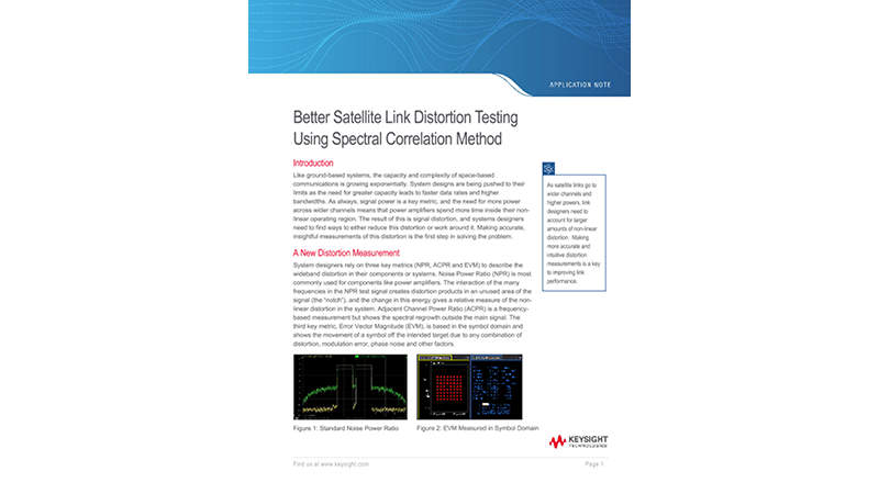 Better Satellite Link Distortion Testing Using Spectral Correlation Method