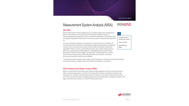 Measurement System Analysis (MSA) for Manufacturing