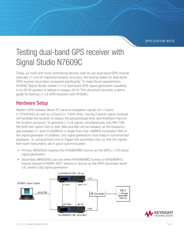Testing dual-band GPS receiver with Signal Studio N7609C