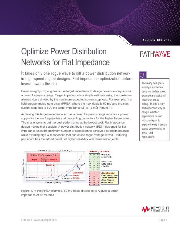 Optimize Power Distribution Networks for Flat Impedance