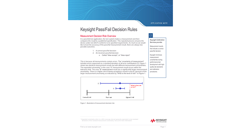 Pass / Fail Decision Rules of Keysight Calibration Services