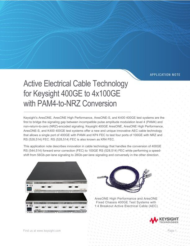 Active Electrical Cable Technology for Ixia 400GE to 4x100GE with PAM4-to-NRZ Conversion