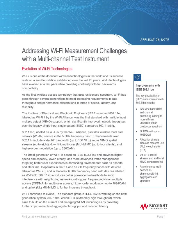 Addressing WiFi Measurement Challenges with Multi-channel Test Instrument