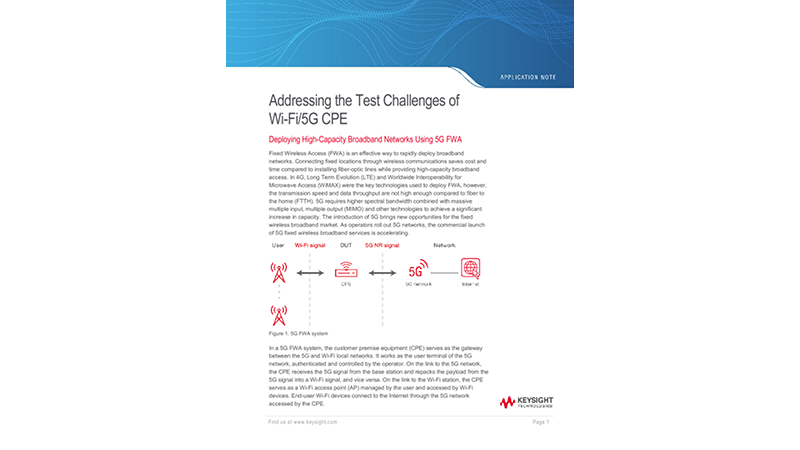 Addressing the Test Challenges of Wi-Fi/5G CPE