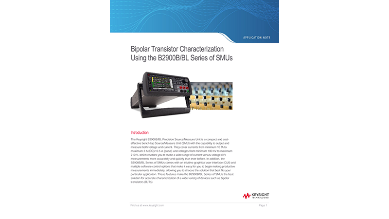 Bipolar Transistor Characterization Using the B2900B/BL Series of SMUs