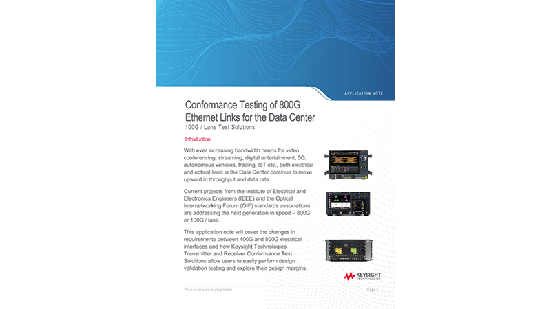 Conformance Testing of 800G Ethernet Links for the Data Center