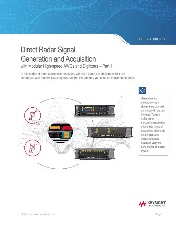 Direct Radar Signal Generation and Acquisition – Part 1