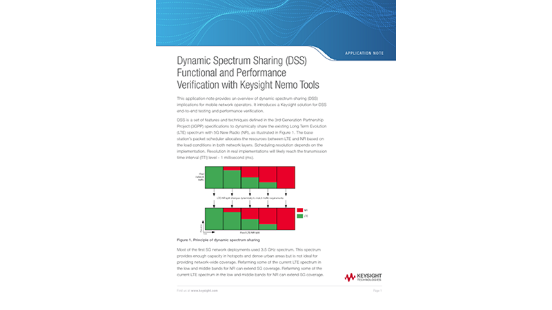 Dynamic Spectrum Sharing (DSS) Functional and Performance Verification with Keysight Nemo Tools