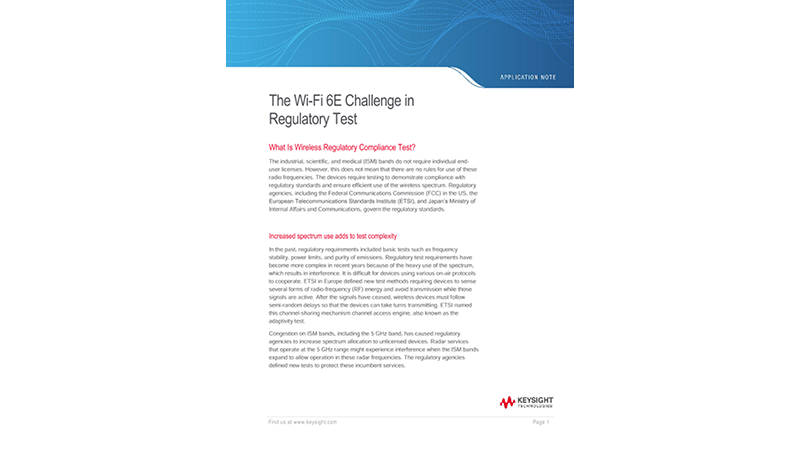 Evolution of Wireless Standard Wi-Fi 6E in Regulatory Test