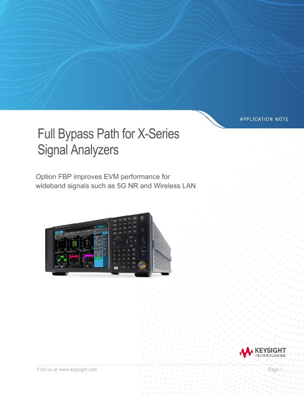 Full Bypass Path for X-Series Signal Analyzers