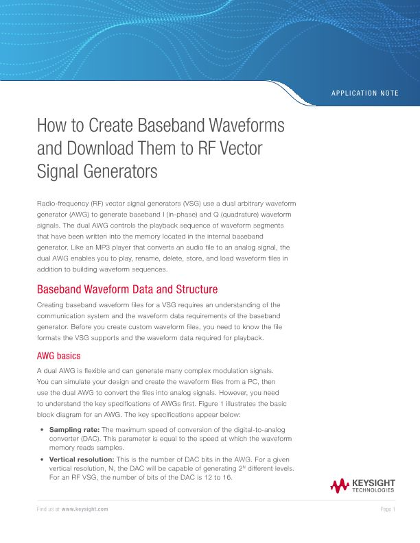 How to Create Baseband Waveforms and Download Them to RF Vector Signal Generators