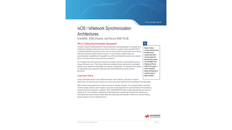 IxOS / IxNetwork Synchronization Architectures