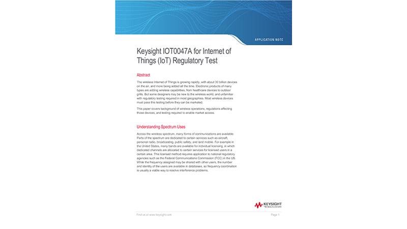 Keysight IOT0047A for Internet of Things (IoT) Regulatory Test
