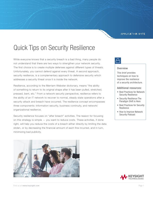 Quick Tips on Security Resilience