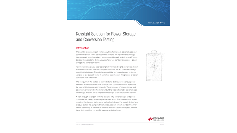 Keysight Solution for Power Storage and Conversion Testing