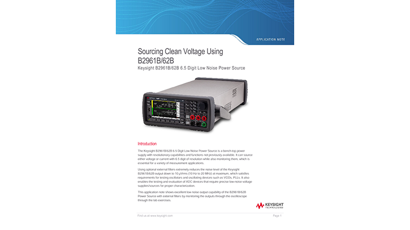 Sourcing Clean Voltage Using B2961B/62B
