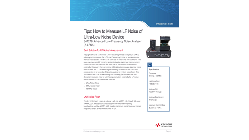 Tips: How to Measure LF Noise of Ultra-Low Noise Device