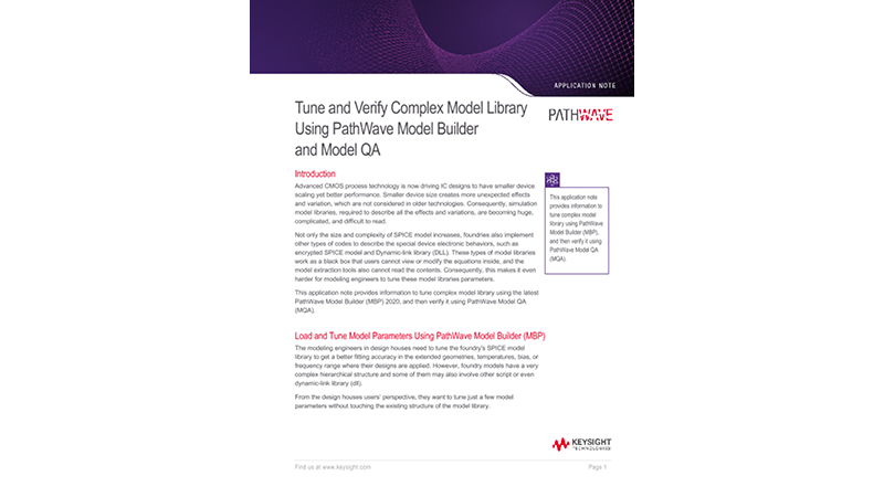 Tune and Verify Complex Model Library Using PathWave Model Builder and Model QA
