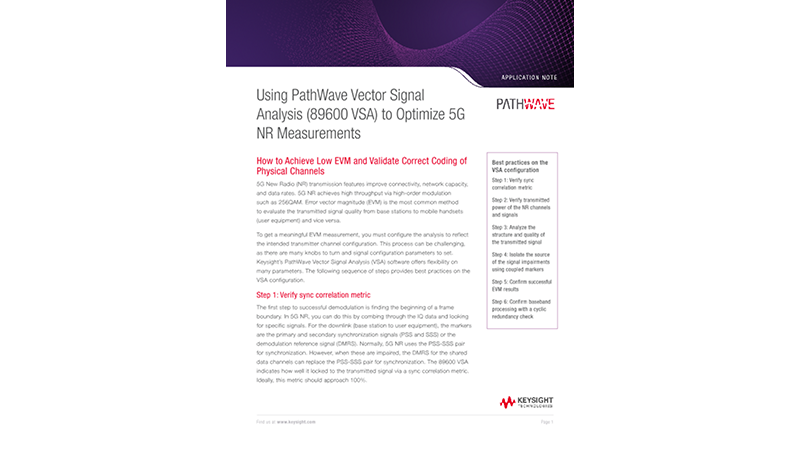 Using PathWave Vector Signal Analysis (89600 VSA) to Optimize 5G NR Measurements