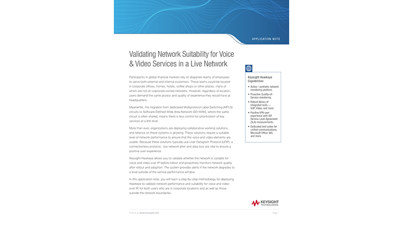 Validating Network Suitability for Voice and Video Services in a Live Network
