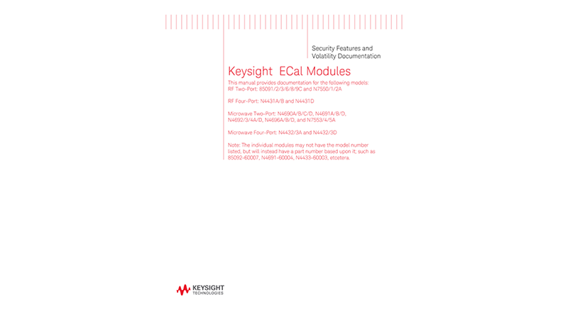 8509xC/N443xD/N469xD/N755xA Electronic Calibration Modules Security Features and Volatility Documentation