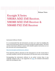X-Series N9038A/38B MXE EMI Receiver & N9048B PXE EMI Receiver Release Notes