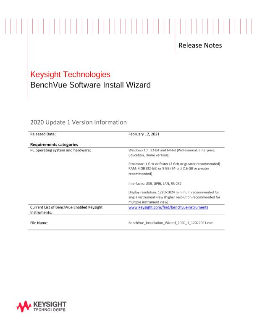 BenchVue Installation Wizard Software Release History
