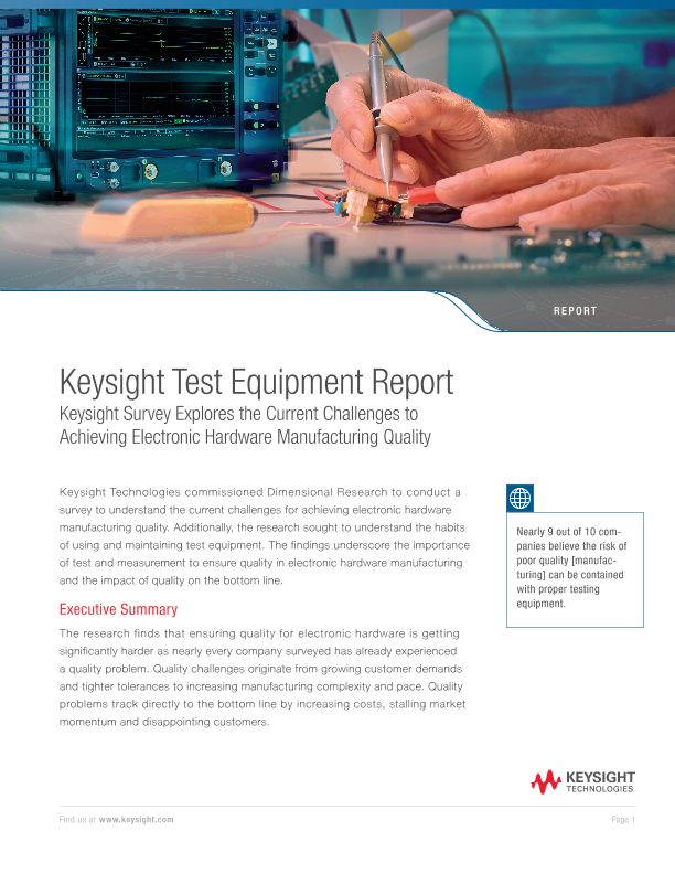 Keysight Survey Explores the Current Challenges to Achieving Electronic Hardware Manufacturing Quality