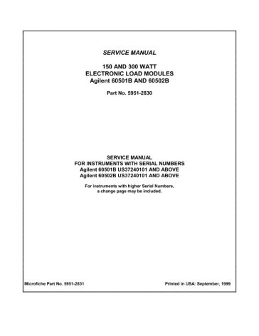 60501B/60502B Electronic Load Modules Service Manual | Keysight