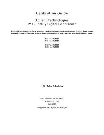 E824xA/5xA PSG Calibration Guide (Jul 2001)   Keysight