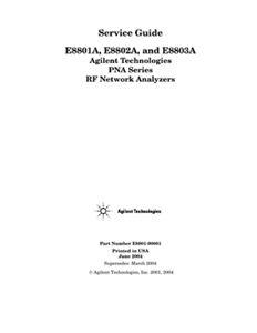 PNA Series RF Network Analyzers E8801A, E8802A, and E8803A Service Guide