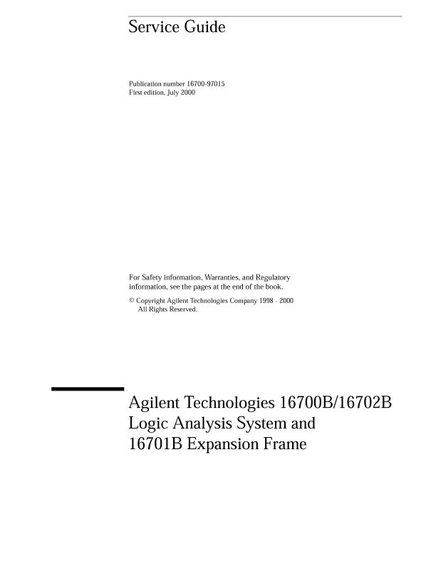 16700B/16702B Logic Analysis System and 16701B Expansion Frame Service Guide