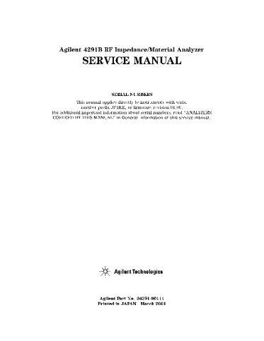 4291B RF Impedance/Material Analyzer Service Manual   Keysight