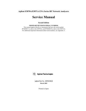 E5070A, E5071A ENA Series RF Network Analyzer Service Manual ...