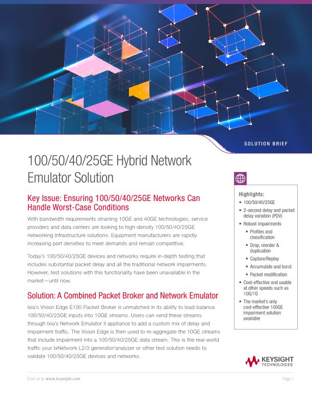 100/50/40/25GE Hybrid Network Emulator Solution