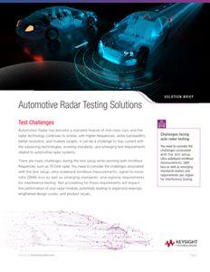 Automotive Radar Testing Solutions