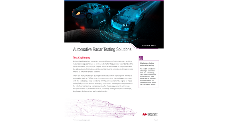Automotive Radar Testing Solutions