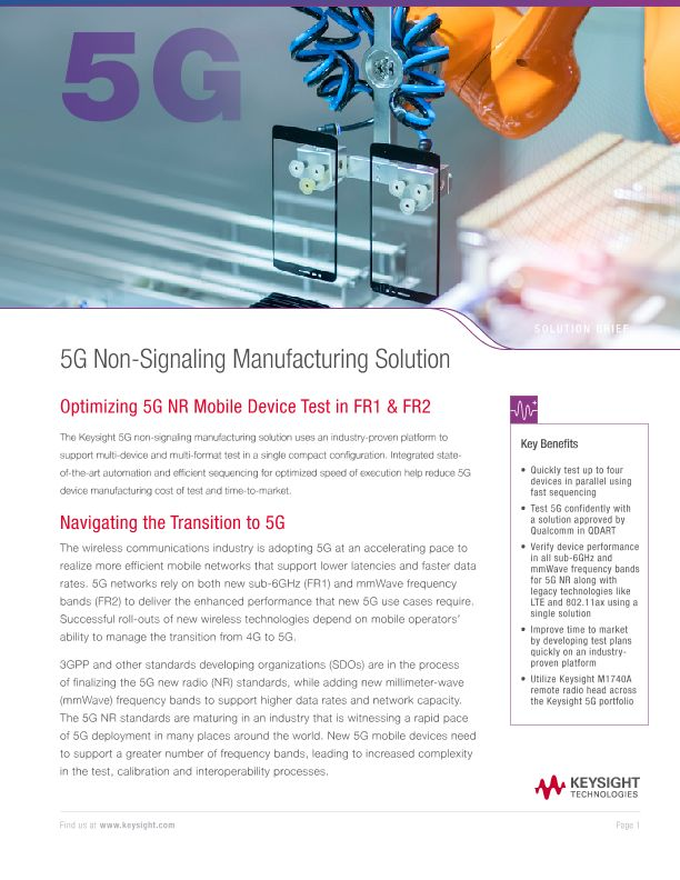 5G Non-Signaling Manufacturing Solution
